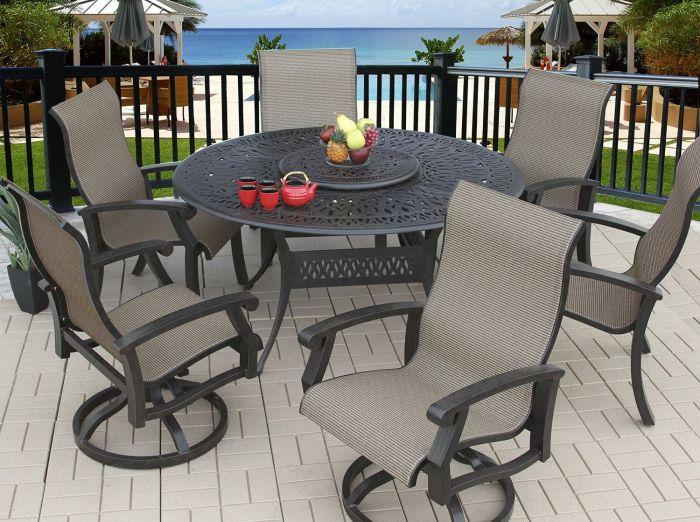 Barbados Sling Outdoor Patio 7pc Dining, Round Patio Table Set