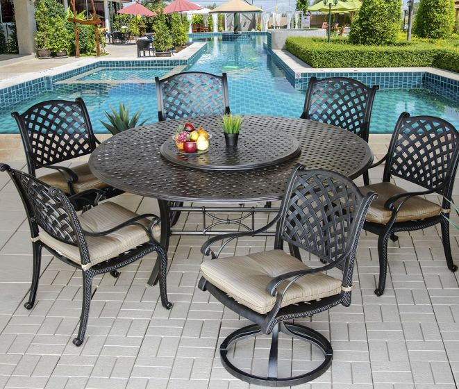 Round Garden Table With Lazy Susan Off 75, Round Outdoor Dining Table With Lazy Susan