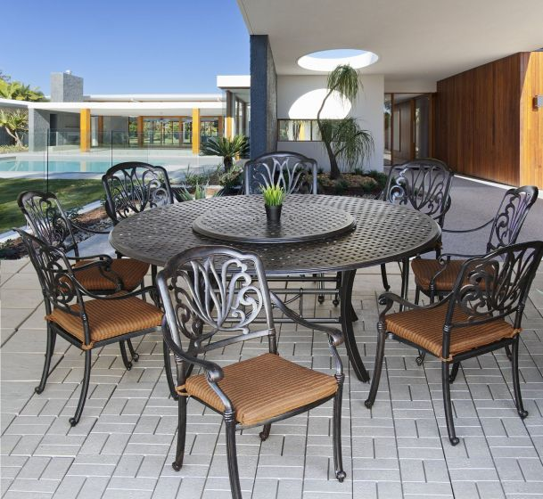 Elisabeth Outdoor Patio 9pc Dining Set, Round Outdoor Dining Table With Lazy Susan