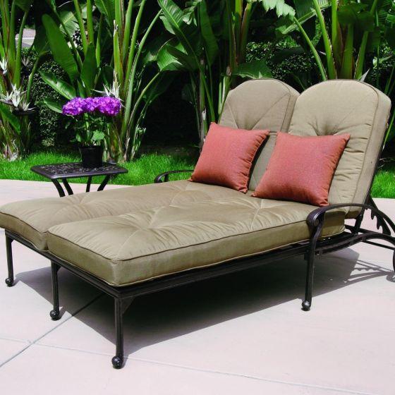 Elisabeth 2-person Cast Aluminum Patio Double Chaise Lounge Set