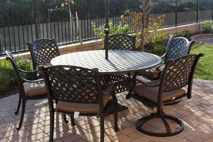 Nassau 7pc Dining Set With 60 Inch Round Table 2 Series 3000 Antique Bronze Zenpatio