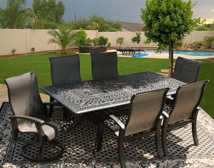 Barbados Sling Outdoor Patio 7pc Dining Set for 6 Person with 44x84 Rectangle Series 2000 Table ...