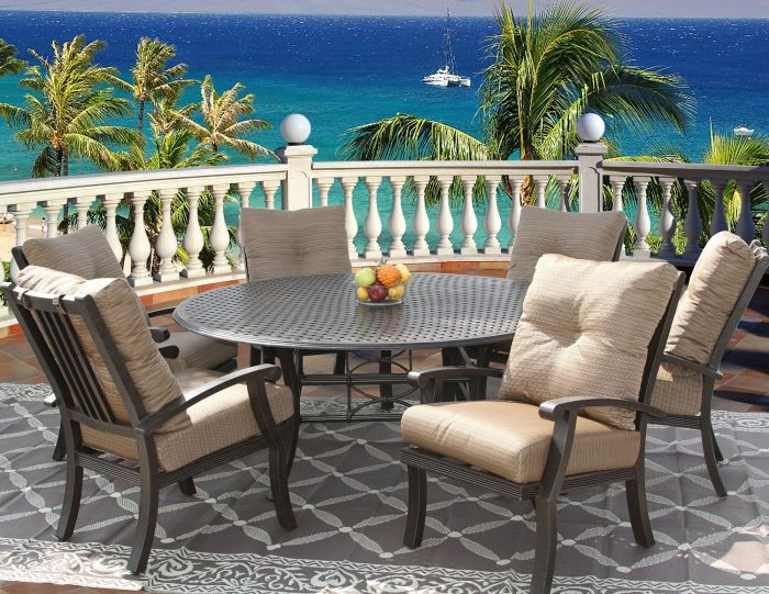 Barbados Cushion Outdoor Patio 7pc Dining Set For 6 Person With 71 Round Table Series 5000 Antique Bronze Finish Zenpatio