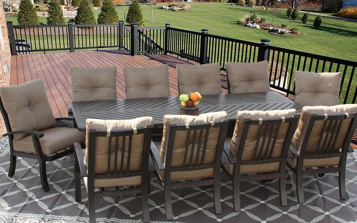 Barbados Cushion Outdoor Patio 11pc Dining Set For 10 Person With 44x102 Rectangle Series 4000 Table Antique Bronze Finish Zenpatio