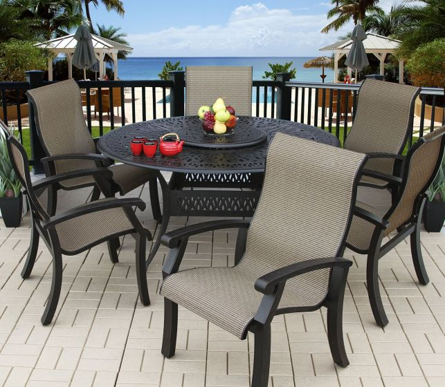 barbados sling outdoor patio 6 person dining set with 60