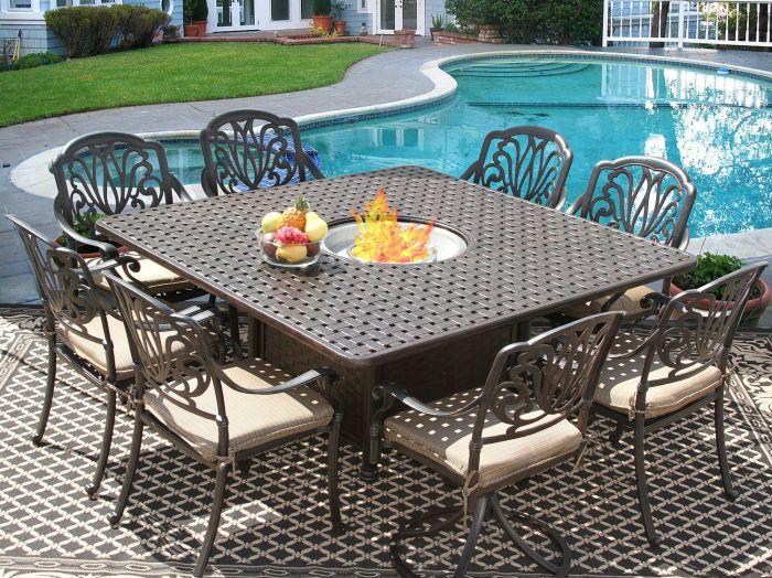 Square Outdoor Patio 9pc Dining Set