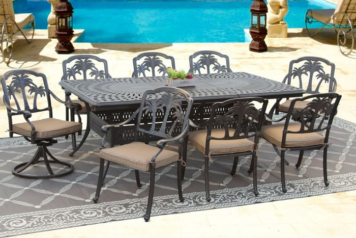 Prime Palm Tree Outdoor Patio 9Pc Dining Set With 48X84 132 Inch Extendable Table Series 6000 Inzonedesignstudio Interior Chair Design Inzonedesignstudiocom