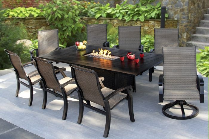 Barbados Sling Outdoor Patio 9pc Dining Set For 8 Person With 47x90 Rectangle Fire Table Series 4000 Zenpatio