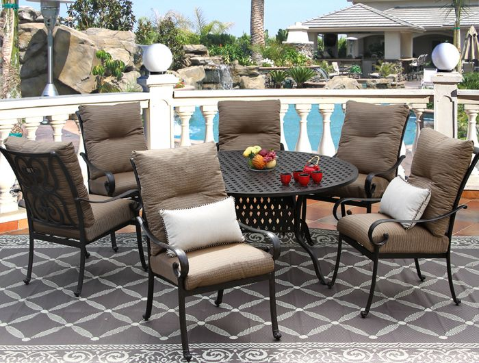 Tortuga Cast Aluminum Outdoor Patio 7pc, 60 Inch Round Dining Table With 6 Chairs Set