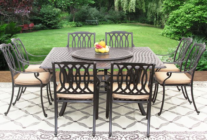 San Marcos Cast Aluminum Outdoor Patio 9pc Set 8 Dining Chairs 64 Inch Square Table Series 5000 35 Lazy Susan With Sunbrella Sesame Linen Cushion Zenpatio