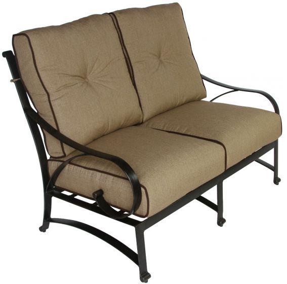 Newport Cast Aluminum Outdoor Patio Loveseat With Cushion Antique Bronze Zenpatio