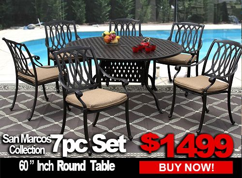 Patio Furniture San Marcos 7 Piece Dining Set With 60 Inch Round Table For 6 Person