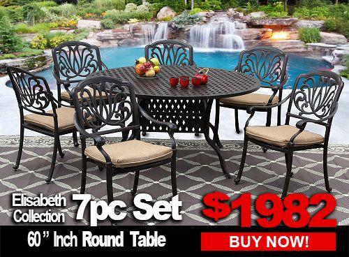 Patio Furniture Elisabeth 7 Piece, Round Table Patio Furniture
