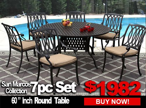 Patio Furniture San Marcos 7, Patio Furniture Dining Sets Clearance
