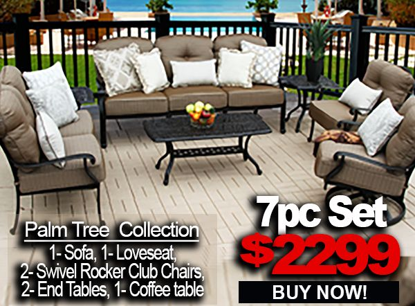 Awe Inspiring Patio Furniture Sale Palm Tree 7Pc Set With 1 Sofa 1 Loveseat 2 Swivel Rocker Club Chairs 2 End Table 1 Coffee Table Unemploymentrelief Wooden Chair Designs For Living Room Unemploymentrelieforg