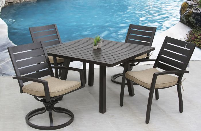 Small Quincy Outdoor Patio 5pc Dining Set With 44 Inch Square Table Series 4000 Zenpatio