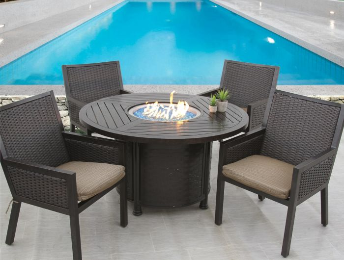 Quincy Wicker Outdoor Patio 5pc Dining